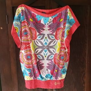 Desigual NWT red abstract floral cotton blouse L